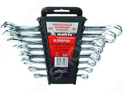 Набор ключей комбинированных MATRIX матовый хром, 8 шт.Комбинированные ключи<br>Набор ключей комбинированных MATRIX матовый хром, 8 шт это отличный набор ключей, которые обладают усиленной конструкцией, они изготовлен с методом горячей штамповки. Основные части ключа изготовлены из стали, покрытые антикоррозийным напылением, что обеспечивает долгий срок службы инструмента. Подходит для работы с деталями автомобилей. Ключ применяется для затяжки резьбовых соединений и контроля крутящего момента затяжки.<br>