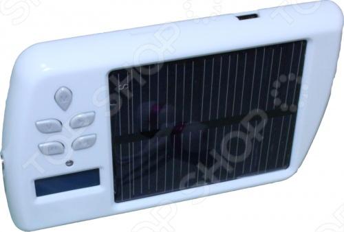 МР-3 плеер SBC-26Портативная акустика<br>Универсальный МР-3 плеер с функциями экстренной зарядки мобильных телефонов, встроенным аккумулятором, солнечной батареей, FM-радио и FM-передатчиком. Модель не только порадует меломанов, которые обезопасят себя от проблем с питанием и смогут зарядить другие персональные устройства в местах, где отсутствует сетевое питание, но и послужит прекрасным Hi-Tech подарком друзьям. На передней панели прибора встроена солнечная батарея, ЖК-дисплей с подсветкой и кнопки управления. Для зарядки электронных устройств мобильных телефонов, плееров, фотоаппаратов и т.д. с торца плеера находится выходной USB-разъем. На встроенном ЖК-дисплее отображается контекстное меню в котором можно выбрать режим воспроизведения музыки или FM-радио , язык и пр. FM-передатчик модели поможет вам настроить автомагнитолу вашего автомобиля на воспроизведение музыки, которая проигрывается плеером и излучается на выбранной вами частоте. Устройство заряжает встроенный аккумулятор при помощи солнечной батареи или от ПК. Один час зарядки от солнца позволяет слушать музыку в течении трех часов. В плеер можно устанавливать стандартную TF-карту памяти микро-SD с музыкальными файлами.<br>