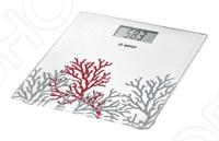 Весы Bosch PPW 3301 белого цвета с принтом кораллов. Ультратонкие весы: высота 17 мм. Большой дисплей: высота 38 мм.