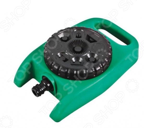 Распылитель стационарный FIT 77358Дождеватели. Оросители. Распылители<br>Распылитель стационарный FIT 77358 станет отличным дополнением к набору ваших дачных принадлежностей. Он представляет собой специализированный инструмент, используемый для полива растений и орошения почвы методом разбрызгивания воды. Изделие изготовлено из высококачественного ударопрочного пластика и снабжено регулируемым универсальным креплением для подсоединения к шлангу. Аппарат работает в 8-ми режимах распыления воды.<br>