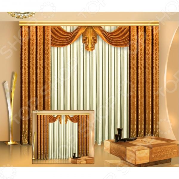 Комплект штор Zlata Korunka Б011Шторы<br>Комплект штор Злата Корунка Б011 это качественный оконный занавес, который преобразит интерьер и оживит атмосферу, придав всей комнате домашний уют, завершенность и оригинальность. Шторы изготовлены из полиэстера, который практически не мнется, легко отстирывается от загрязнений, не притягивает пыль и не требует глажки. Благодаря этому ткань способна выдержать сотни стирок без потери цвета и прочности. Обычные материалы со временем выгорают, на них собирается пыль, появляются неприятные запахи. С полиэстером этого не происходит штора почти не пачкается и не впитывает запахи, при этом вы очень легко ее постираете и высушите. Интерьер квартиры или дома, в котором окна не украшены занавесом, сегодня трудно представить, поэтому шторы станут отличным подарком для любого человека. Купить шторы способ недорого, быстро и изящно преобразить дизайн домашнего интерьера!<br>
