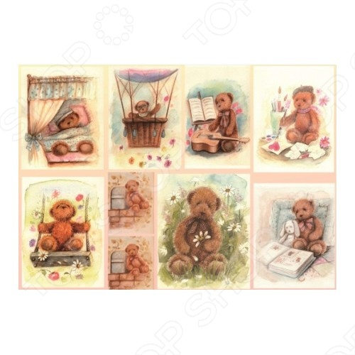 Декупажная карта Karalliki «Медвежата»Декупаж<br>Декупажная карта Karalliki Медвежата это отличная основа для творческой работы. Декупаж поможет вам сохранить все важные моменты жизни на собственных изделиях из фотографий, газетных вырезок, рисунков и других памятных мелочей. Эту бумагу можно использовать как фон или для создания декоративных элементов. Изображение легко прикрепить к любой поверхности: она может подойти для декорирования всевозможных аксессуаров.<br>