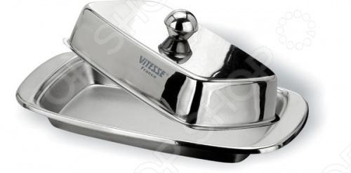Масленка Vitesse Elle VS-1220Масленки и паштетницы<br>Масленка Vitesse Elle VS-1220 обладает стильным и современным дизайном, благодаря чему, станет стильным украшением вашей кухни. Маслёнка изготовлена из высококачественной нержавеющей стали 18 10 с матовой полировкой.<br>