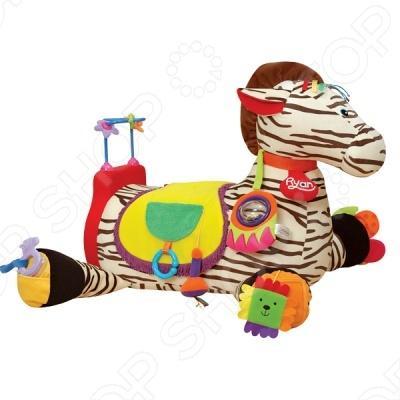 Развивающая игрушка KS Kids Зебра 28Мягкие развивающие игрушки<br>Игровой набор Зебра 28 понравится как малышу, так и родителям. Зебра - это целый игровой центр, который состоит из 28 развивающих элементов - погремушка, логические игры, разнофактурные материалы, изучение цифр, форм, прорезываетель, пищалка, зеркальце, кресло для малыша. Игрушка имеет яркий дизайн и поможет развить малышу тактильные навыки, мелкую и крупную моторику, а также воображение и логику.<br>