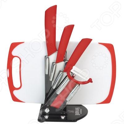 Набор ножей с доской Bohmann BH-5214Ножи<br>Набор ножей Bohmann BH-52 с керамическими лезвиями идеально подходит для всех видов работ при приготовлении еды. Благодаря сверхвысокой твердости керамического лезвия, ножом можно резать без заточки долгие годы, на нем не появляются царапины и сколы и при этом он ощутимо легче стального. Эргономичная рукоять выполнена из качественного пластика. Рельефная поверхность рукояти и специальный упор для пальцев обеспечат надежный захват и не дадут ножу скользить в руке при использовании. С ножами Bohmann BH-52 вы почувствуете себя профессиональным шеф-поваром. Набор подходит для мытья в посудомоечной машине.<br>