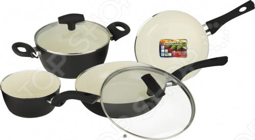 Набор кухонной посуды c внутренним керамическим покрытием Vitesse «Black–and–White» VS-2902