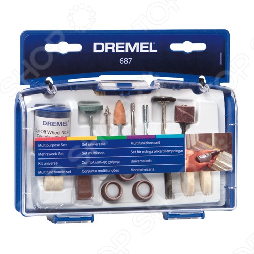 Набор насадок многофункциональных Dremel 687Насадки для многофункциональных инструментов<br>Набор насадок многофункциональных Dremel 687 представляет собой надежное и практичное средство для ухода за вашими инструментами марки Dremel. Мобильный чемоданчик, который удобно переносить и хранить, содержит большое количество различных насадок, инструментов и средств для всестороннего обслуживания инструмента.<br>