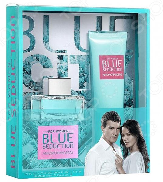 Набор женский: туалетная вода и лосьон для тела Antonio Banderas Blue seduction woman, 100 мл набор туалетная вода лосьон elizabeth arden набор туалетная вода лосьон