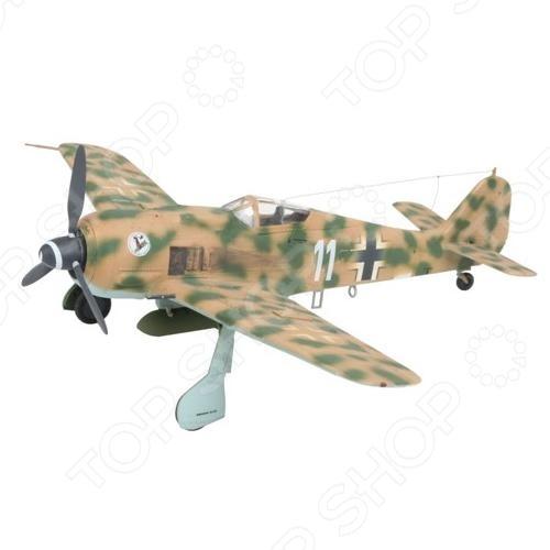 Сборная модель самолета Revell Focke Wulf 190 F-8 &amp;amp; Bv 246 «Hagelkorn»Авиамодели<br>Сборная модель Focke Wulf 190 F-8 Bv 246 Hagelkorn представляет собой точную копию настоящего военного самолета. Состоит из 57 деталей, которые юный механик должен собрать сам. Во время игры с такой крылатой машиной у ребенка развивается мелкая моторика рук, фантазия и воображение. Немецкий истребитель выпущен известной компанией по производству игрушек Revell. Изготовлен из пластика и обладает потрясающей детализацией. Сборная модель Focke Wulf 190 F-8 Bv 246 Hagelkorn является отличным подарком не только ребенку, но и коллекционеру. Клей, кисточка и краски в комплект не входят.<br>