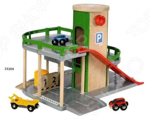 Парковка к железнодорожному полотну с лифтом и машинками Brio 33204 погрузчик с вращением с магнитом блист brio