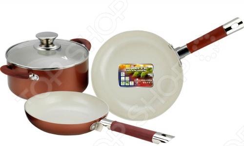 Набор кухонной посуды c внутренним керамическим покрытием Vitesse VS-2238. В ассортиментеНаборы посуды для готовки<br>Товар продается в ассортименте. Возможные варианты цвета: красный и синий. Цвет изделия при комплектации заказа зависит от наличия цветового ассортимента товара на складе. Выполненный в элегантном стиле, набор кухонной посуды Vitesse VS-2238 имеет цветное покрытие, подвергшееся высокотемпературной обработке. А ускорить процесс готовки поможет внутреннее керамическое покрытие ECO-CERA и удобные ручки на клепках с силиконовым покрытием. Крышки сделаны из термостойкого стекла. Можно нагревать на газовых, галогеновых, чугунных и стеклокерамических конфорках. Подойдет для посудомоечной машины.<br>