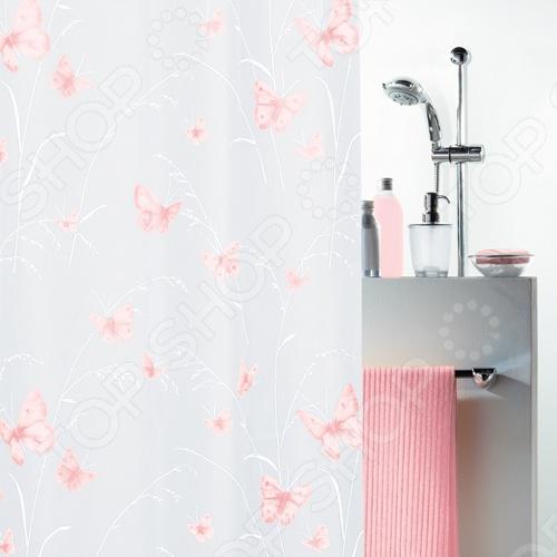 Штора для ванной комнаты Spirella BUTTERFLYКарнизы. Шторки для ванной<br>Штора для ванной комнаты Spirella BUTTERFLY - это незаменимая вещь в любой ванной комнате. Изготовленная из полиэтиленвинилацетата, штора водонепроницаема. Она плотно прилегает к ванной и сохраняет свою форму. Верхний её край усилен двойным загибом с отверстиями для колец. Штора отлично переносит стирку в стиральной машине при температуре не выше 40 градусов.<br>