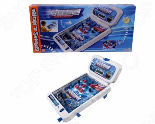 Пинбол настольный Simba увлекательная и развивающая игра для вашего малыша. Цель игры заключается в том, чтобы не дать шарику скатиться вниз. Катаясь по игровому полю, шарик ударяется о стенки и различные препятствия, принося игроку очки. Игрушка изготовлена из высококачественного пластика, который полностью безопасен для детей. Изделие работает на двух батарейках. Пинбол настольный Simba поможет развить координацию движений, ловкость, реакцию и логическое мышление вашего ребенка.