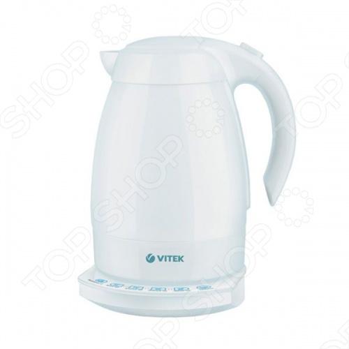 Чайник Vitek VT-1161Чайники электрические<br>Чайник Vitek 1161 мощностью 2200 Вт выполнен в современном эргономичном дизайне из натурального материала керамики. Объем чайника составляет 1,7 л. Такого объема достаточно для чаепития большой семьей. Чайник имеет функции автоотключения при закипании воды и поддержания температуры, вращающийся корпус за 360 градусов, защиту от перегрева, скрытый нагревательный элемент, фильтр, шкалу уровня воды и стеклянную сенсорную панель Touch control .<br>