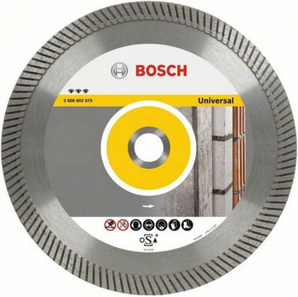Диск отрезной алмазный Bosch Best for Universal 2608602678Диски пильные<br>Диск отрезной алмазный Bosch Best for Universal 2608602678 это отличный отрезной диск для стандартных стройматериалов, таких как бетон, кирпичная кладка, кирпич, гранит, чугунные трубы и металл. Диск делает точный и качественный пропил, он обеспечивает четкие кромки и чистое пиление. Материал корпуса: высококачественная инструментальная сталь. В случае, если вам необходимо провести качественную резку, этот диск именно то, что вам нужно. Увеличенная высота режущих сегментов снижает боковое трение, а так же повышает срок службы диска и рабочую скорость.<br>