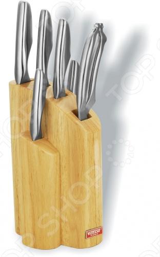 Ножи Vitesse Evita сделаны из высококачественной стали. Имеют острую режущую кромку, удобную рукоятку. Легкая заточка. Материал подставки: дерево хвойных пород сосна . Ножи можно мыть в посудомоечной машине.