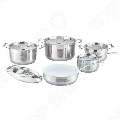 Набор кухонной посуды Bohmann BH-1057WCRНаборы посуды для готовки<br>Набор кухонной посуды Bohmann BH-1057WCR это объемные кастрюли с высококачественным покрытием, прекрасно подходит для жарки, пассировки и тушения. Благодаря специальному покрытию, в них можно приготовить разнообразные блюда из мяса, рыбы, птицы и овощей практически не используя масло. Интересный дизайн посуды отлично впишется в вашу кухню.<br>