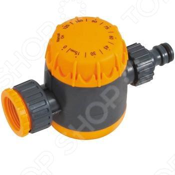 Таймер водяной 0-120 мин. используется для регулирования времени полива до 120 минут . Входной штуцер с внутренней резьбой 1 и переходником 3 4 . Устанавливается между трубой или краном с внешней резьбой и шлангом с универсальным соединителем. Упаковка: блистер.