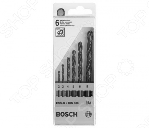 Набор сверл по металлу Bosch HSS-G DIN 338 2-8 мм набор сверл по металлу bosch standard hss co din 338 5 шт