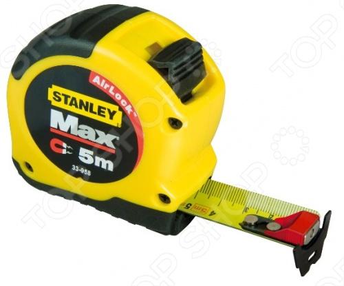 Рулетка STANLEY MAX SHORT предназначена для проведения измерительных работ, может применяться на строительных площадках, в мастерской, на садовом участке. Оснащена корпусом из ударопрочного пластика, который имеет мягкие вставки для удобного удержания инструмента в руке. Отличительной особенностью приспособления является размещение на крючке мерной ленты магнита - это облегчает проведение замеров на металлических поверхностях. Мерная лента имеет специальное покрытие Mylar - для снижения износа. На корпусе предусмотрен зажим для закрепления рулетки на поясном ремне.