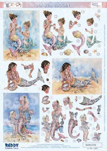 фото Аппликация вырубная для объемных рисунков Reddy Creative Cards «Искатели раковин, подарок моря», купить, цена