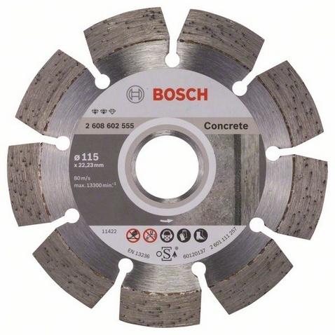 Диск отрезной алмазный для угловых шлифмашин Bosch Expert for Concrete диск отрезной алмазный турбо 115х22 2mm 20006 ottom 115x22 2mm
