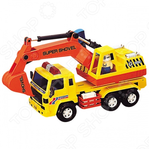 Машинка игрушечная Daesung автоэкскаватор - яркая, реалистичная, качественно смоделированная копия грузовика специального назначения, с инерционным механизмом, основание ковша поворачивается на 360 градусов, ковш приводится в движение рычагом. Отличная модель для игры как дома, так и на улице с друзьями. Подарите вашему малышу интересную и оригинальную игрушку, которая в свою очередь обеспечит массу удовольствия и веселья.