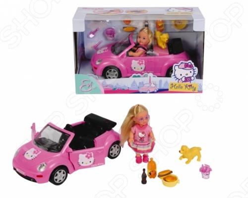 Кукла Еви на машине с собачкой Simba Hello Kitty