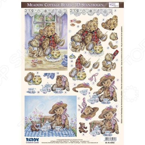 фото Аппликация вырубная для объемных рисунков Reddy Creative Cards «Плюшевые медведи» №3, купить, цена