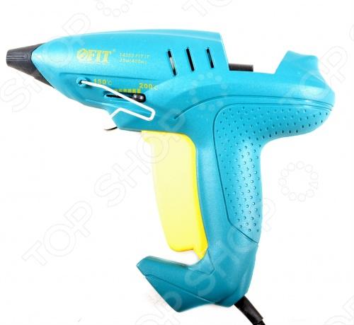 Пистолет клеевой FIT 14355Клеевые пистолеты<br>Пистолет клеевой FIT 14355 очень удобен в использовании. Предназначен для склеивания различных материалов. Увеличенная производительность. Максимальная мощность 400 Вт номинальная - 35 Вт . Плавная регулировка температуры 150-200С . Материал: корпус выполнен из термостойкого пластика, инструментальная сталь. Упаковка: блистер.<br>