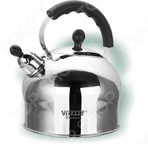 Традиционный чайник Vitesse Connie со съемным свистком предназначен для разогрева на газовых, галогеновых, стеклокерамических, индукционных или чугунных конфорках. Обладает зеркальной полировкой и многослойным тepмoaккyмyлиpyющим дном. Изготовлен из нержавеющей стали.