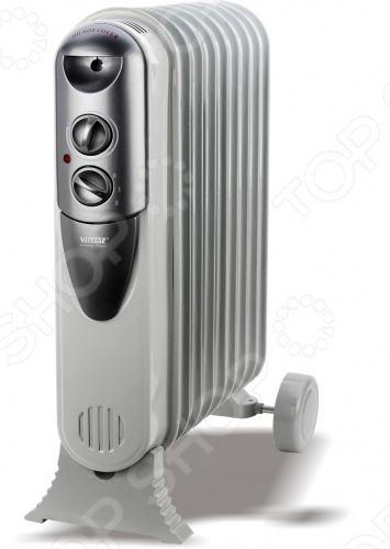 Радиатор масляный Vitesse VS-877Масляные радиаторы<br>Радиатор масляный Vitesse VS-877 отличается высокой мобильностью благодаря ручке и гладким роликам. Подойдет для обогрева небольших помещений площадью до 15 кв. м. Давление в 9 секциях проверено на безопасность. Имеются операционные переключатели с индикатором и пластина для намотки шнура. 3 режима обогрева.<br>