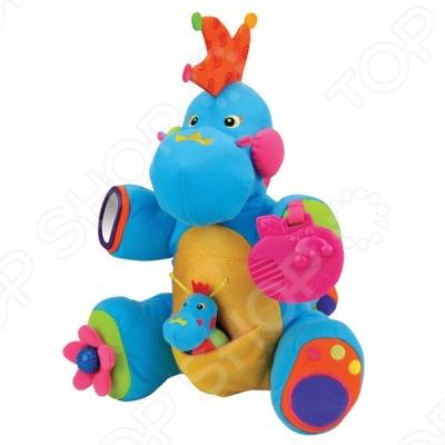 Развивающая игрушка Boss замечательный подарок для вашего малыша. Данная модель игрушки совмещает в себе множество функций. Хохолок, как и спина дракона, состоит из разноцветных мягких и шуршащих зубчиков. На хвостике шарик-погремушка, который можно потянуть и он станет длиннее, а потом начнёт вибрировать и собираться в первоначальную форму. На правой ножке цветочек с маленькой круглой ручкой, которая при вращении издаёт щёлкающие звуки. В левой ножке находится пищалка . Правая ручка снабжена безопасным зеркалом, а левая - прорезывателем для зубок в форме яблочка. В кармашке на животике спрятался крошечный дракончик. Игрушка поможет развить не только навыки моторики, но также поможет малышу выучить цвета.