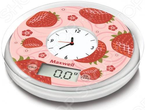 Весы кухонные Maxwell MW-1452Кухонные весы<br>Весы кухонные Maxwell MW-1452 позволяют измерять массу продуктов прямо в емкости, что особенно удобно для теста, соусов, подлив и прочего. Вес тары вычитается из общего показателя, поэтому не нужно переживать за возможную погрешность. Когда весы кухонные Maxwell MW-1452 не используются, их можно разместить на стене в качестве полноценных часов. Максимальный вес, на который рассчитаны весы кухонные Maxwell MW-1452, составляет 5 килограммов, что считается серьезным показателем для аппаратов такого рода. Помимо этого весы имеют индикатор перегрузки, если вес превышен, и заряда батареи, который сигнализирует владельцу о том, что времени работы осталось мало. Цена деления этих весов составляет 1 грамм, что позволяет отмерять все продукты с особенной точностью. В качестве элементов питания используются две батарейки класса ААА. В случае, когда весы не задействованы какое-то время, они автоматически выключаются.<br>