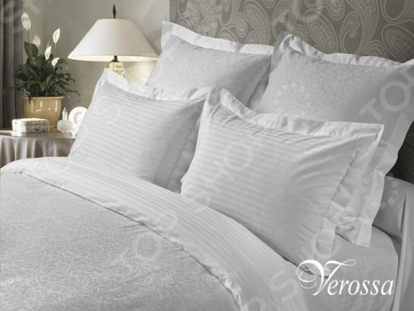 Комплект постельного белья Verossa Constante «Bellcanto» Сатин-Жаккард. ЕвроЕвро<br>Комплект постельного белья Verossa Bellcanto Сатин-Жаккард это превосходное белье, которое станет украшением спальни и сделает ваш сон более комфортным. Комплект белья, изготовленный из жаккарда, будет идеальным подарком для тех, кто любит роскошь и предпочитает высококачественные природные материалы. Изысканная фактура жаккарда достигается путем переплетения тысяч нитей прямо в структуре ткани, что придает рисунку утонченность и глубину. В отличие от вышивки традиционного исполнения, такой рисунок не создает неприятных ощущений при соприкосновении с кожей. Жаккард это самый дорогостоящий материал, престижный и очень долговечный. Красивая упаковка позволяет преподнести этот комплект в качестве подарка.<br>