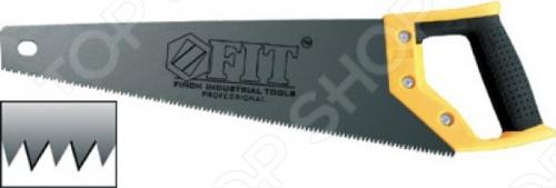 Ножовка по дереву FIT Профи (3D-заточка, каленая, прорезиненная ручка)Лобзики. Ножовки. Пилы<br>Ножовка по дереву FIT Профи 3D-заточка, каленая, прорезиненная ручка это отличная ножовка по дереву, которая прекрасно подойдет как для небольших изделий, так и для крупногабаритных работ. Средний каленый зуб с трехгранной заточкой. Эргономическая прорезиненная ручка поможет вам работать долго и без усталости. Материал ножовки: высоко углеродистая сталь. Есть защитный чехол для зубьев.<br>