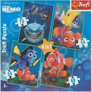 Набор пазлов 4 в 1 Trefl «Приключения Немо» trefl набор пазлов тачки 2 70 100 деталей trefl