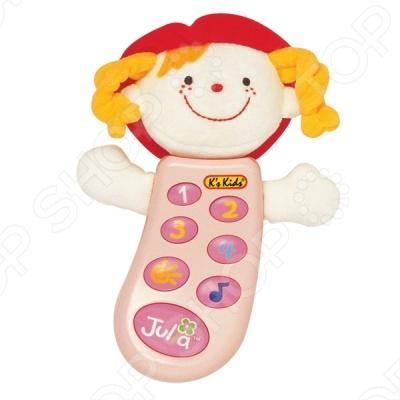 Музыкальный телефон с записью Джулия в руссифицированной упаковке несомненно понравится вашему малышу. В телефоне предусмотрено 7 кнопок. Нажимая на кнопки с цифрами, малыш услышит разные звуки. Кнопка с нотой проиграет 3 веселые мелодии, а при нажатии на кнопку с солнышком малыш услышит детский голосок. Но самое главное, телефон оснащен функцией записи вы сможете записать для малыша свой голос, забавный стишок или песенку, которые он всегда сможет послушать, нажав на самую большую кнопку.