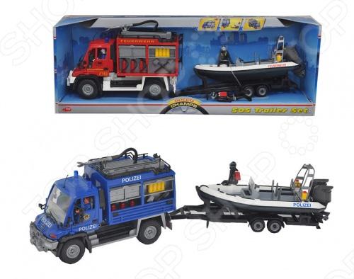 Служба спасения Dickie игрушечная. В ассортиментеМашинки<br>Товар продается в ассортименте. Вид изделия зависит от товарного ассортимента на складе. Служба спасения Dickie игрушечная представлена в трех вариантах: полицейский грузовик и лодка, пожарник с лодкой и пожарной машиной, машина технической помощи с лодкой. Играя с таким набором, ваш ребенок будет сам придумывать различные игры, развивать фантазию, воображение, мелкую моторику, координацию движения рук, а также зрительное и слуховое восприятие. Игрушки Dickie это всегда оригинальные идеи и высокое качество исполнения. Модели Dickie в точности повторяют свои оригинальные прототипы, а достигается это благодаря использованию современных технологий производства.<br>