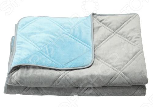 Фото Одеяло декоративное Dormeo Trend Blanket. Размер: 200х200 см. Цвет: бирюзовый, серый