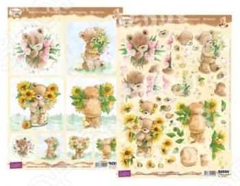 фото Аппликация вырубная и фон для рисунков Reddy Creative Cards «Медведи Popcorn - Цветы 1», купить, цена
