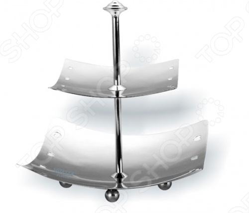 Поднос квадратный двухуровневый Vitesse Raine пригодится для сервировки стола. Благодаря изящной зеркальной полировке будет отлично смотреться на праздничном столе. Имеет 2 яруса. Можно мыть в посудомоечной машине.
