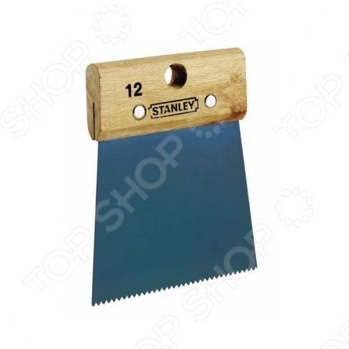 Шпатель для клея STANLEY Adhesive Spreader 1-28-956 - применяется в процессе выкладывания плитки и для прочих отделочных работ. Зубчатая кромка инструмента обеспечивает равномерное распределение клея по необходимой поверхности, что делает удобной и простой работу с этим инструментом.