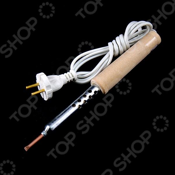 Паяльник имеет медное жало, металлический корпус и деревянная ручку. Данная модель очень удобна в использовании и очень практична.