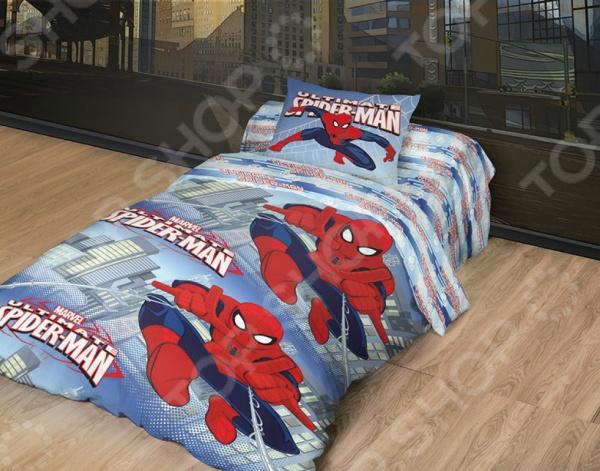 Детский комплект постельного белья MARVEL «Spider Man Удивительный» йогуртный напиток campina кампина нежный с соком персика 0 1% 285г пл бутылка