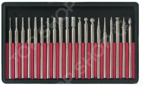 Набор шарошек по металлу FIT 36485Насадки для фрезировки и гравировки<br>Набор шарошек FIT 36485 с алмазным напылением, в наборе 20 шт. используется для доводки фигурных отверстий. Штифт d 3 мм из усиленной инструментальной стали с головкой, покрытой алмазным напылением. Упаковка: пластиковая коробка в блистере.<br>