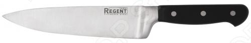 Нож кованый Regent MasterНожи<br>Нож кованый Regent Master с лезвием из высококачественной нержавеющей стали станет незаменимым на вашей кухне. Идеально подойдет для шинковки, нарезки, чистки и перерубания мелких костей. Лезвие долго сохраняет заточку, а цельнокованный клинок гарантирует долговечность изделия. Эргономичная рукоять удобно ложится в ладонь, чтобы рука не уставала от долгой работы. Выполнена из пластика, поэтому проста в уходе и очень надежна. Больстер имеет небольшую длину, что обеспечивает идеальный баланс и дополнительный вес для легкой нарезки. С ножом Regent Master, вы почувствуете себя профессиональным шеф-поваром. Изделие можно мыть в посудомоечной машине.<br>