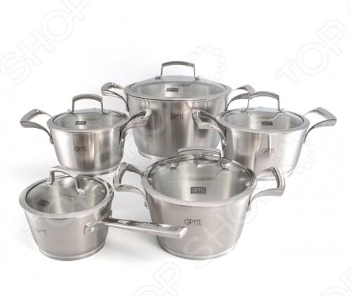 Набор кухонной посуды Gipfel GENESIS 1537 кастрюля 24 см 6 5 л н с 18 10 термоаккум дно ст кр мет руч
