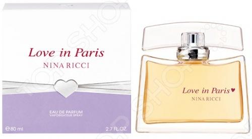 Парфюмированная вода для женщин Nina Ricci Love In Paris- это аромат для женщин, который принадлежит к группе ароматов цветочные. Love in Paris выпущен в 2004. Волшебство Парижа в изящном флаконе. Реальность, окрашенная в цвета мечты Увидев Париж, хочется жить полной жизнью, легко и красиво в ожидании самого прекрасного чуда любви. Принимая в подарок великолепный цветочный букет, мы верим, что любовь войдет в вашу жизнь, чтобы остаться в ней навсегда! Роскошный флакон сияющего, янтарного цвета напоминает женственный аксессуар, возможно, это изящной формы сумочка, или элегантная шляпка. В дизайне упаковки романтичное сочетание белого , серебристого и сиреневого цветов. Верхние ноты: Пион, Персик, Звездчатый анис, Банан, груша, Бергамот и роза; ноты сердца: Абрикос, Фиалка, Жасмин и Анис; ноты базы: Мускус и древесные ноты.