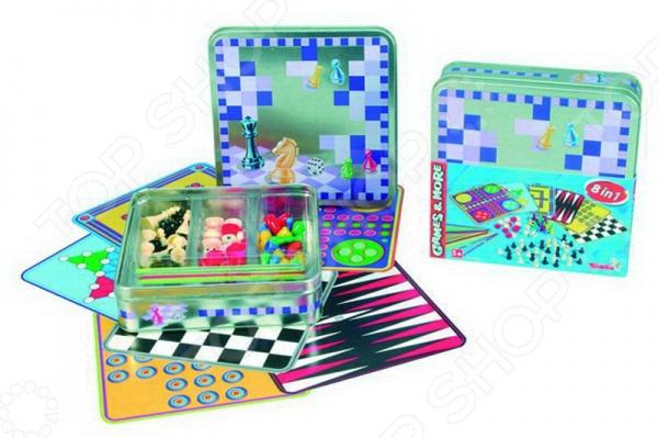 Игра настольная Simba «8 в 1»Логические и стратегические настольные игры<br>Игра настольная Simba 8 в 1 развлекательный набор для детей, который даст возможность приятно провести время в кругу друзей. В комплект входят шесть игровых полей, некоторые из них двухсторонние. Соблюдая все правила указанные в инструкции к игре можно добиться отличных результатов. Во время игры у ребенка развивается внимание, концентрация, логическое мышление и фантазия. Продукция выполнена из высококачественных материалов и не содержат токсичных веществ. Состоит из классических настольных игр:  Шашки  Шахматы  Нарды  Мельница  Без паники  Хальма  В одиночку.<br>